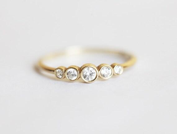 Five Diamond Band 14k Yellow Solid Gold Diamond Ring Diamond