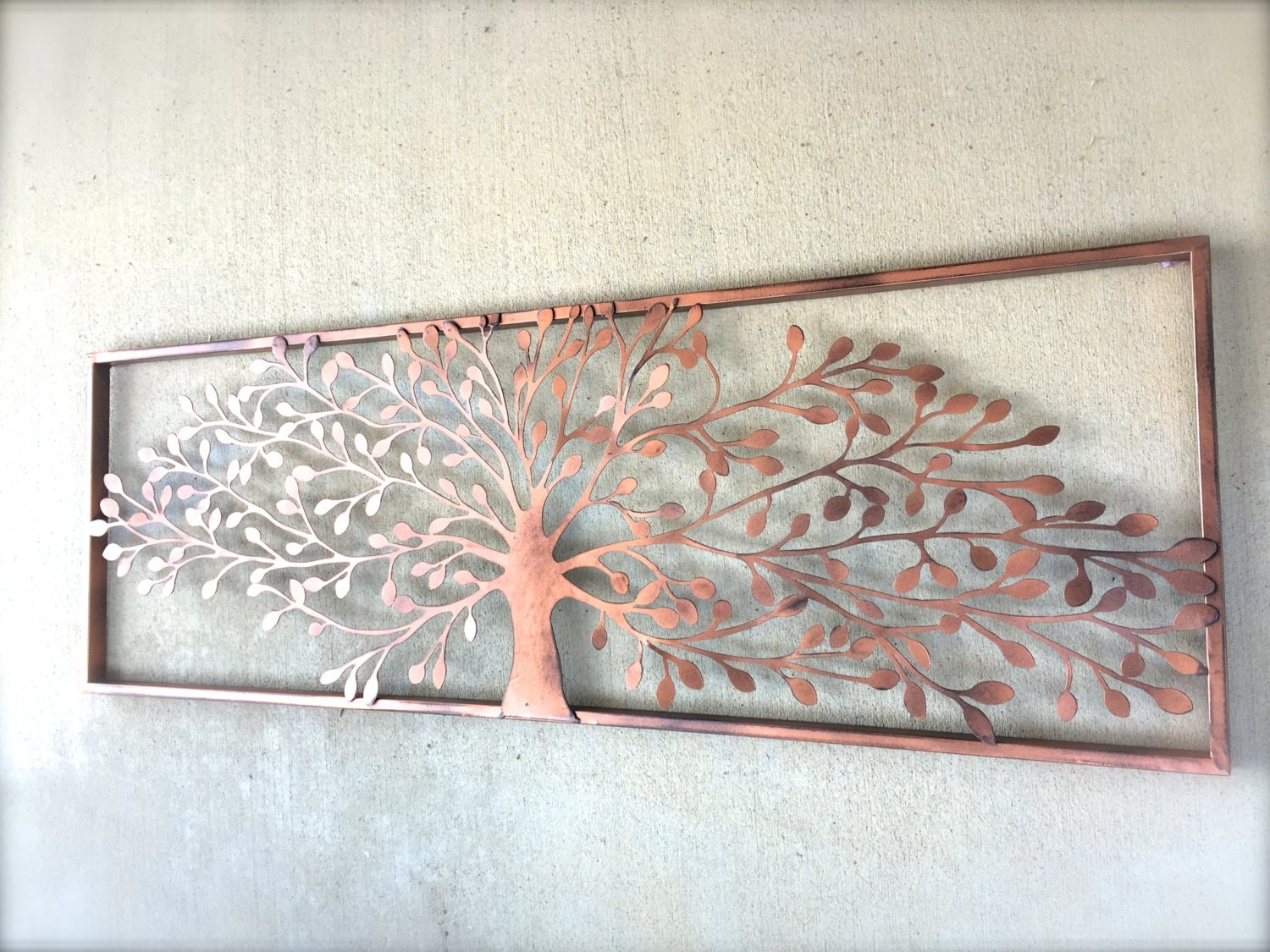 Tree wall art metal wall decor metal wall art tree wall for Decoration murale en metal noir