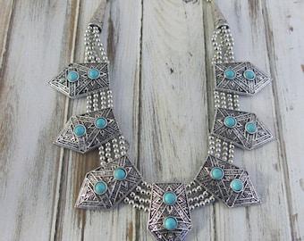 Bohemian Necklace, Statement Necklace, Bib Necklace, Boho Necklace