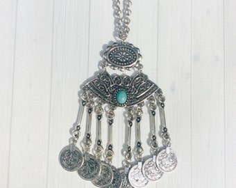 SALE- Bohemian Necklace, Long Boho Necklace,  Statement Necklace, Bib Necklace, Boho Necklace