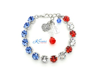 LADY LIBERTY 8mm Crystal Chaton Bracelet Swarovski Elements *Pick Your Finish *Karnas Design Studio™ Seasonal Exclusive *Free Shipping