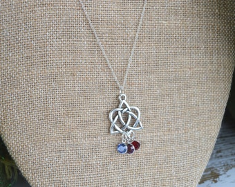 Personalized Eternal Heart Celtic Knot Necklace with Swarovski Crystal Birthstones