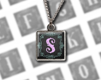 Chalkboard Alphabet, Digital Collage Sheet, 1 Inch Square, Printable Monogram Chalk Letters for Glass Resin Pendants, Lavender and Mint