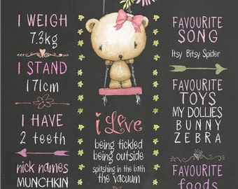 Chalkboard sign, Custom Baby girl Chalkboard, Printable, personalised gifts Baby, first bithday
