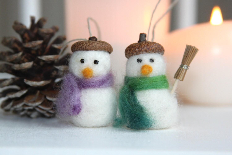 Ornement no l fait main d coration laine bouillie bonhomme - Decoration noel fait main ...