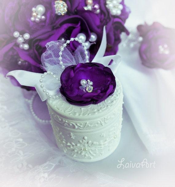 Wedding Ring Pillow Box Wooden Eggplant Purple Plum Ring