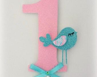 Number cake topper in pink, glitter, blue bow, bird, blue bird. My baby Sam aqua pixie. Robbin egg blue, pink. First birthday.
