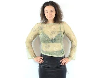 SALE Floral  Mesh Khaki Green Long sleeve Shirt Woman Assimetric Sheer Vintage 90s  / Medium