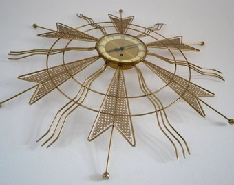 31 in.  ATOMIC WALL CLOCK / wall art  from Welby mfg. made in  Germany mid century vintage 1950 era