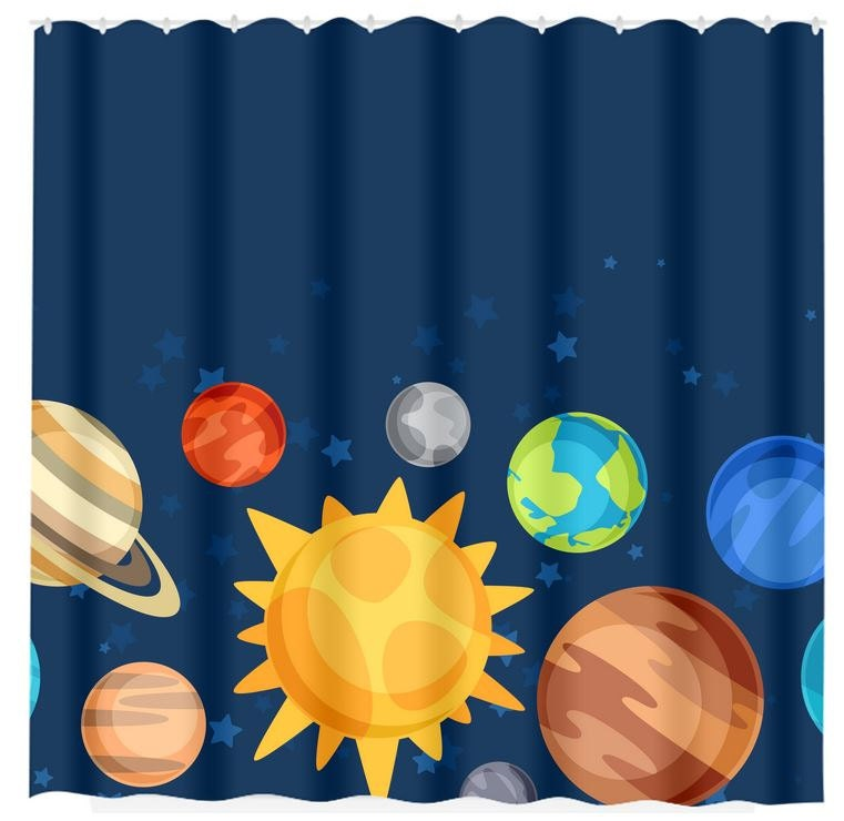 Planet Shower Curtain Outer Space Bathroom Custom By