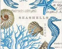 TWO (2) Seashore,Seashells, Starfish, Beach Paper Hostess Napkins for Decoupage and Paper Crafts