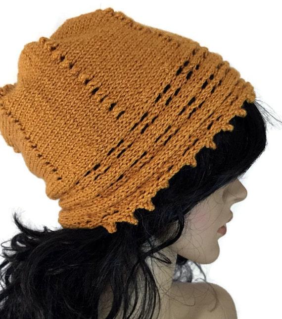 Outlander Goldenrod Knit Slouchy Hat - Claire Diana Gabaldon Cap Beanie Mustard Yellow Gold Yellow