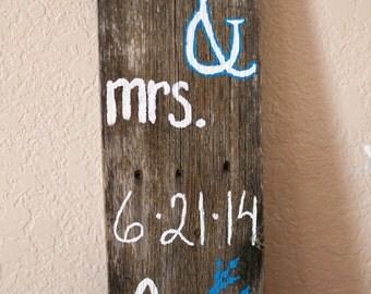 Mr. & Mrs. Wood Sign Keepsake