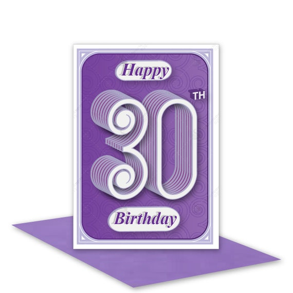 30th Happy Birthday card cards handmade modern typography age – Handmade 30th Birthday Cards