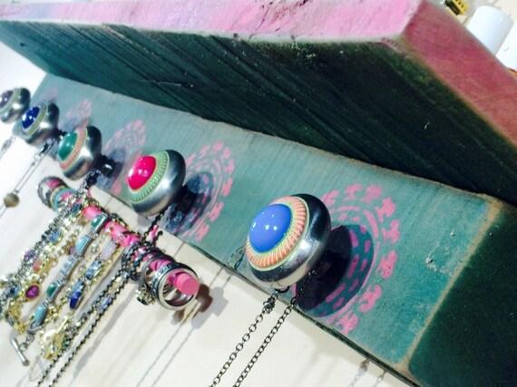 pallet wood floating shelves /wall vanity organizer hanging shelf /accent shelving reclaimed wood decor 5 knobs 2 pink hooks & bracelet bar