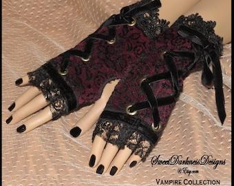 Gothic FINGERLESS GLOVES Gothic Cuffs Gothic Wrist CORSET Dark Victorian Vampire Gloves Burgundy Lace Vampire Gloves by SweetDarknessDesigns