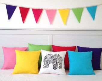 Colouring In Elephant Design Pillow Cover | Black & White Cushion | Kids Decor | Kids Craft Activity | Adult Colouring In Activity