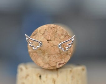 Sterling Silver Wing Earrings, Angel Wing Stud Earrings, Angel Wing Jewelry, 925