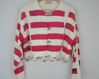 White and Pink Stripes Fringe Bells