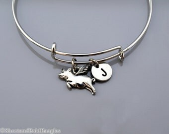 Pig with wings charm, flying pig charm, Flying Pig bangle, Flying Pig bracelet, Expandable bangle, Personalized bracelet, Initial bracelet