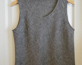 Linen Tank Top,Linen/Cotton Tank, Women's Sleeveless Linen Blouse, Linen/Cotton Shirt, Linen Shell, Black or Beige, Size 8-10