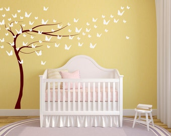 Sweeping Butterfly Tree. Quality Vinyl Matte Wall Decal.