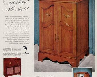 Superb 1951 Capehart New Englander Television Cabinet Ad   Retro Wood TV Cabinet    Capehart Symphonic Tone