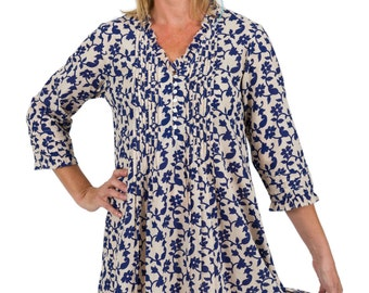 Belle Cotton Tunic Dress - Blue Latte