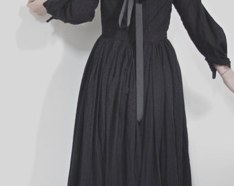 Gothic long Victorian / Edwardian style dress. Off the shoulder ribbon detailing. Fitted Bodice