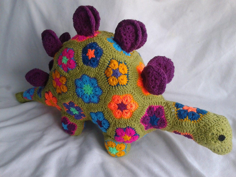 African Flower Crochet Pattern Half : Handmade crochet toys dinosaur African Flower Amigurumi