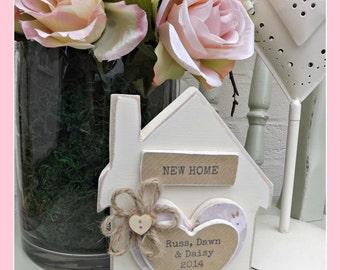 Handmade personalised vintage standing house block.