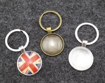 ON SALE - 10 sets Photo Keychains DIY Kit - blank round 1 inch (25mm) bezel setting with glass cabochon and key ring