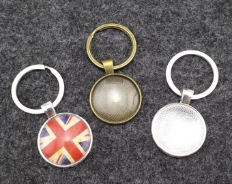 ON SALE - 10 sets Photo Keychains DIY Kit - blank round 1 inch (25mm) 0r 30mm bezel setting with glass cabochon and key ring