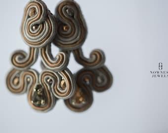Handcrafted Dainty Earrings, Swarovski Earrings, Embroidered Earrings, DangleEarrings, Soutache Earrings