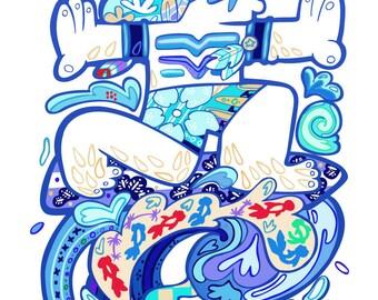 Gone Surfing - Original illustration, Limited Edition