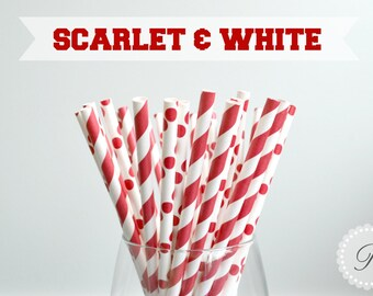SCARLET & WHITE Paper Straws // Graduation // Party // University // Alabama // Oklahoma
