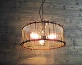"Rustic Chandelier 17"" or 21"" or 25"" Diameter Brown Steel Cage with Metal Screen Mesh - Repurposed Industrial Light - Hanging or Flush Mount"