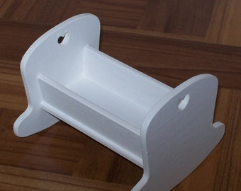 """White 1:6 scale cradle/ 1 6 scale nursery/ 12"""" doll size cradle/ dollhouse cradle/ dollhouse nursery/ miniature cradle/ barbie size cradle"""