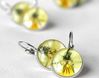 Pansy yellow earrings Delicate romantic earrings Gift birthday daughters mother Bohemian jewelry Eco friedly Love gift for lover