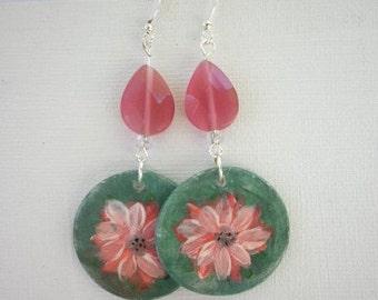 Earrings Flower earrings Handmade beads Ceramic Clay earrings with flowers handpainted earrings Dangle earrings Green drop earrings