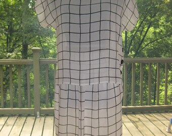15% OFF SALE: 80s 2 Piece Outfit, Vintage Late 1980's Campus Casuals White & Black Windowpane Matching Sheer Chiffon Skirt Suit Set Size 9