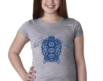 Girls Mosaic Turtle Shirt 3710