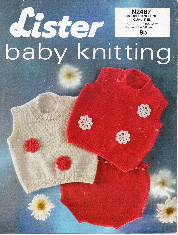 vintage baby tank top pants set knitting pattern PDF baby