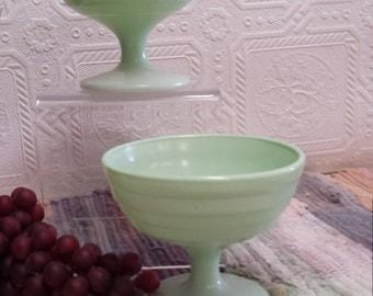 Two (2) Vintage Hazel Atlas Moderntone Platonite Pastel Green Sherbet Dishes