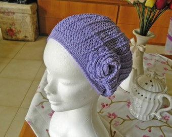 Lilac crochet beanie handmade