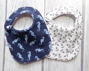 Nautical Baby Bibs / Drool Bib / Bib Gift Set / Organic Cotton Fleece / Beach Baby / Seahorses and Anchors / Preppy Baby
