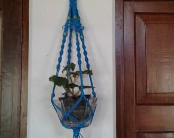 "20% off poly cord Macrame plant hanger / holder 33"" / pot holder,hanging  planter indoor outdoor / bird feeder / Blue colour medium sized"