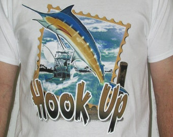 Hookup,Fishing T-shirt, Cotton, Crew Neck, Short Sleeve, Apparel, Clothing