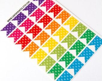 32 flag stickers, heart stickers, banner bunting, planner stickers, reminder checklist sticker eclp filofax happy planner kikkik