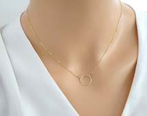 Dainty Circle Necklace, Karma Necklace, Eternity Necklace, Circle Outline, Bridesmaid Necklace, Sterling Silver, Gold fill